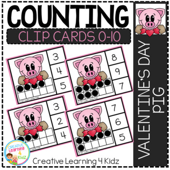 Counting Ten Frame Clip Cards 0-10: Valentine's Day