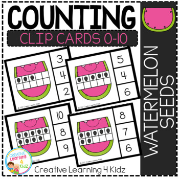 Counting Ten Frame Clip Cards 0-10: Watermelon Seeds