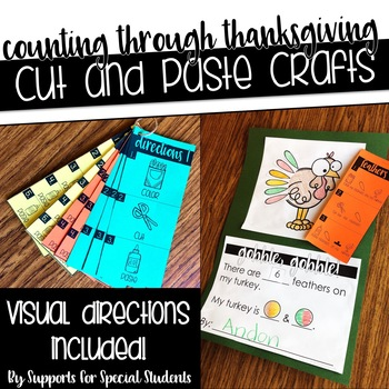 Counting Through Thanksgiving - No Prep Cut and Paste Crafts