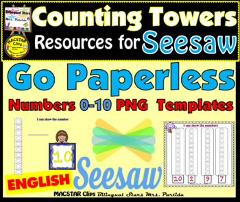 Counting Towers 0-10 PNG  Templates for Seesaw in English  for the iPad