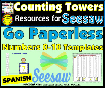 Counting Towers 0-10 PNG  Templates for Seesaw in Spanish