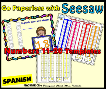 Counting Towers 11-20 PNG  Templates for Seesaw in Spanish  for the iPad