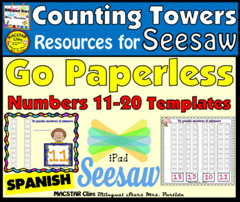 Counting Towers 11-20 PNG  Templates for Seesaw in Spanish
