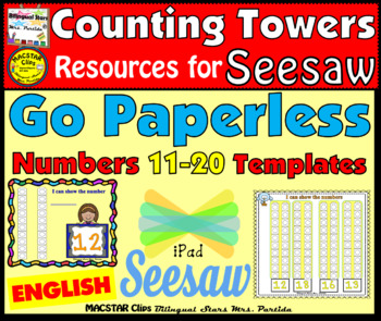 Counting Towers 11-20 PNG  Templates for Seesaw in English for the iPad