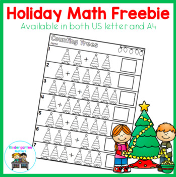 US letter Counting Trees Christmas Math Freebie