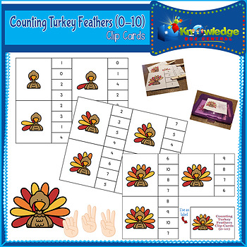Counting Turkey Feathers Clip Cards (0-10)