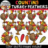 Counting Turkey Feathers Clipart {Turkey Clipart}