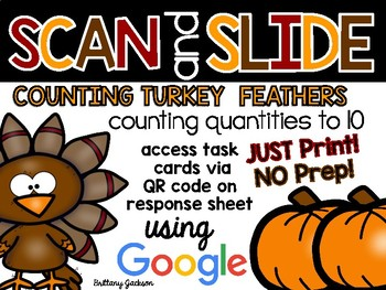 Counting Turkey Feathers QR Code Scan and Slide Activity