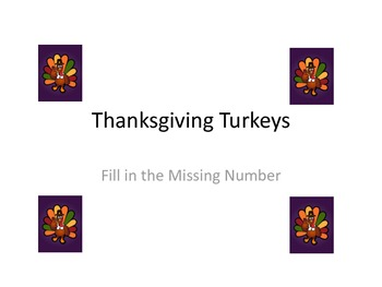 Counting Turkeys with Missing Number Hundreds Chart Math Center Activity