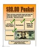 Counting Twenty Dollar Bills Money Math Packet