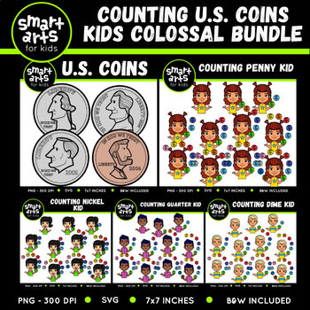 U.S. Coins Counting Kids Clipart Bundle