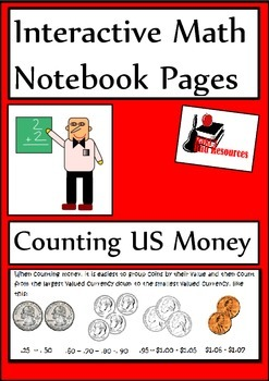 Counting US Money Lesson for Interactive Math Notebooks