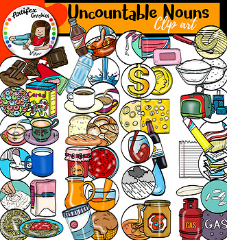 Counting Uncountable Nouns. Big set of 108 items!
