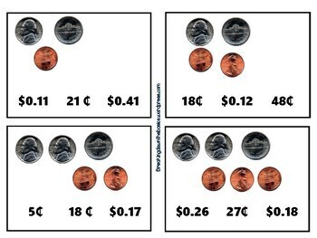 Counting Unlike Coin Clip Cards - Cent Sign and Dollar Sign
