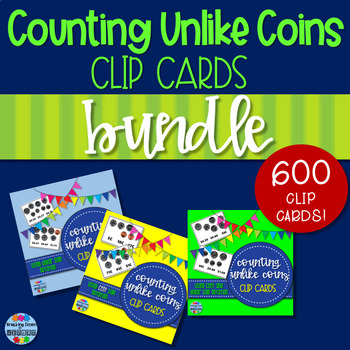 Counting Unlike Coins Clip Cards BUNDLE