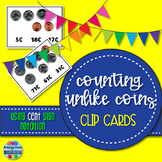 Counting Unlike Coins Clip Cards - Cent Sign Only