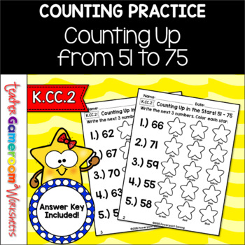 Counting Up From 51 - 75 Worksheet Set - K.CC.2
