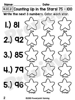Counting Up From 1 - 100 Worksheet Bundle - K.CC.2 by Teacher Gameroom