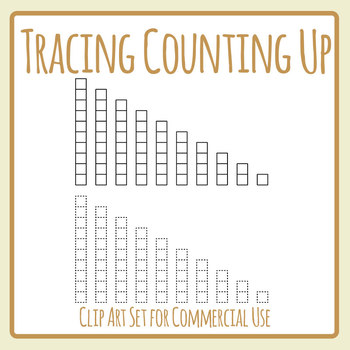 Counting Up Tracing Set - Place Value, Bar Graphs Etc Clip Art Commercial Use