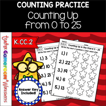 Counting Up From 0 - 25 Worksheet Set - K.CC.2
