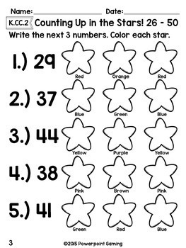 Counting Up From 26 - 50 Worksheet Set - K.CC.2