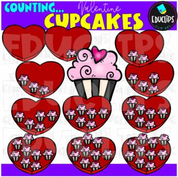 Counting Valentine Cupcakes Clip Art Bundle  {Educlips Clipart}