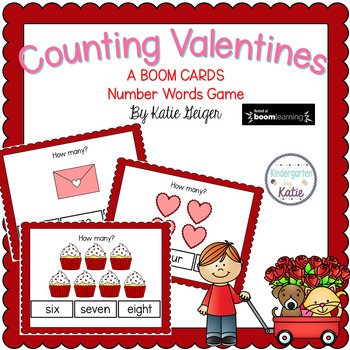 Counting Valentines BOOM CARDS Number Words
