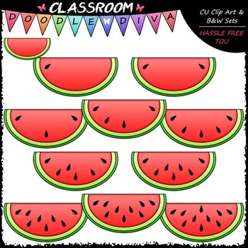 (0-10) Counting Watermelon Seeds Clip Art - Counting & Math Clip Art & B&W Set