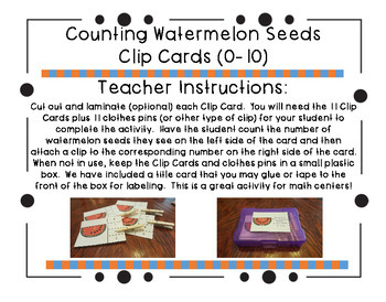 Counting Watermelon Seeds Clip Cards (0-10)