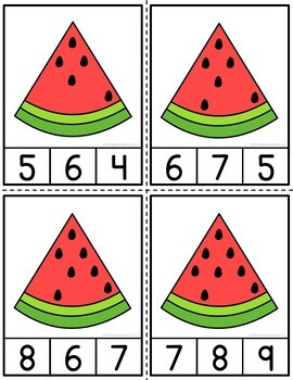 Counting Watermelon Seeds Clip Cards and Reader 1-10
