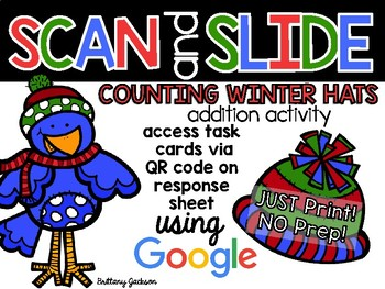Counting Winter Hats Scan and Slide QR Code Addition Activity