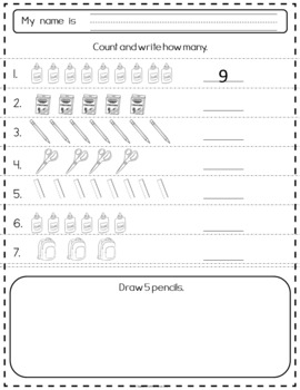 Counting With My School Supplies Readiness Activities
