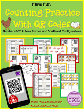 Counting With QR Codes- Tens Frames and Scattered Configurations {Farm Themed}