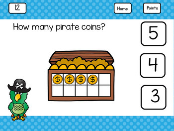 To Use With Google Classroom™ Counting, Subitizing, and Ten Frames Pirates Theme