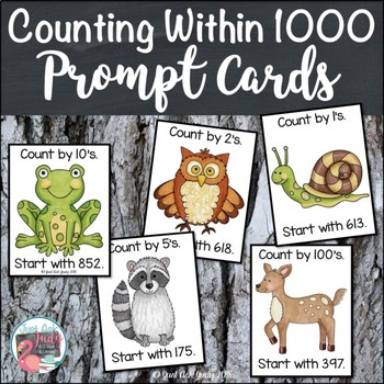 Counting Within 1000 Forest Animal Prompt Cards