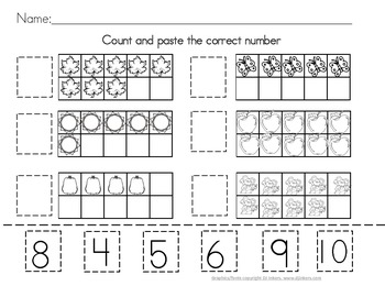 FREE Printable Winter Counting and Matching Cut And Paste ...