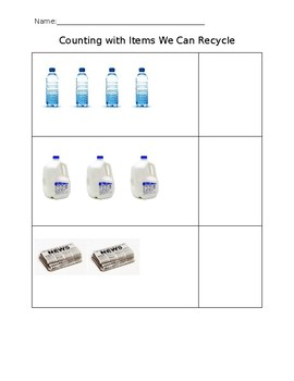 Counting Worksheets Recycle