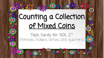 Counting a Collection of Mixed Coins Task Cards