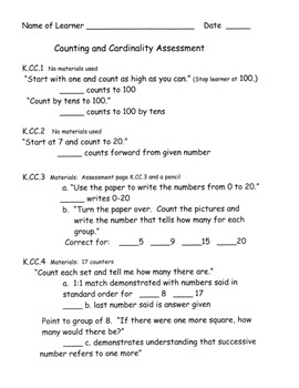 Counting and Cardinality Assessment Kindergarten Common Core All Standards