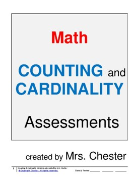 Counting and Cardinality Assessments for PK - 1 (CC, GSE Standards)