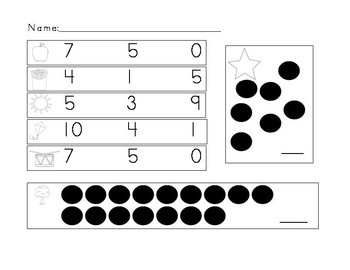 Counting and Cardinality Common Core Pre-Assessment for Beg. of the Year