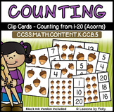 Counting and Cardinality-Count to 20-Clip Cards-Acorns