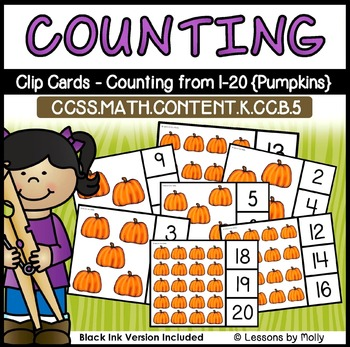 Counting and Cardinality-Count to 20-Clip Cards-Pumpkins