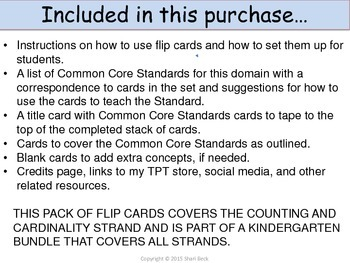 Counting and Cardinality Flip Cards for Kindergarten (Concept & Task Cards)