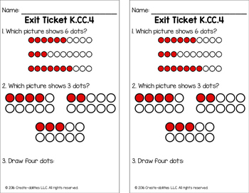 Counting and Cardinality Math Tasks and Exit Tickets