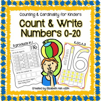 Counting and Cardinality for Kinders: Count and Write Numbers 0-20 BUNDLE