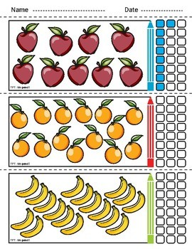 Counting and Coloring worksheets | Fruits - Numbers 1-24