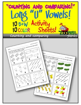 Counting and Comparing (Long U Words) Activity Sheets