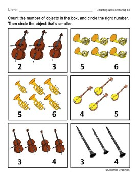 Counting and Comparing (Musical Instruments) Activity Sheets