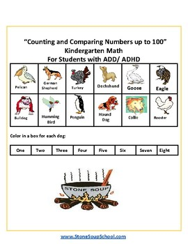 K - Counting and Comparing Numbers to 100 -  Students w/ ADD or ADHD
